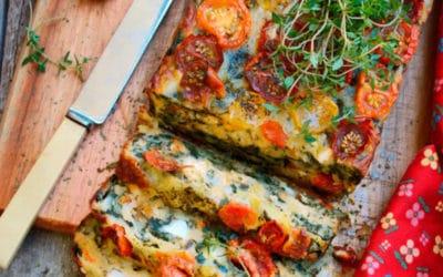 Cake tomates cerise, épinard, piment