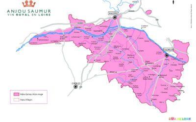 La carte du vignoble des vins rouges de l'Anjou